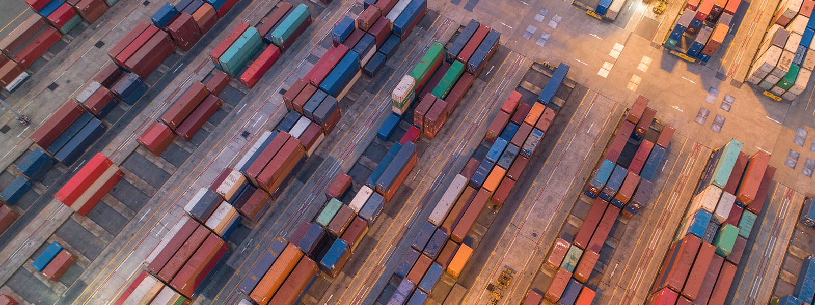 Aerial shot of a shipping container yard