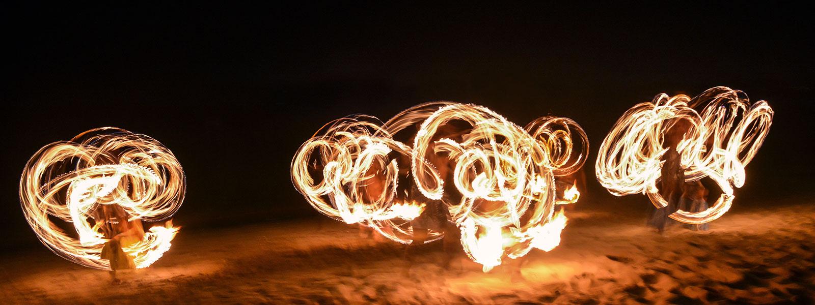 Fire dancers on the beach