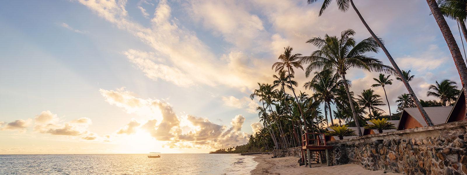 Fijian beach at sunset