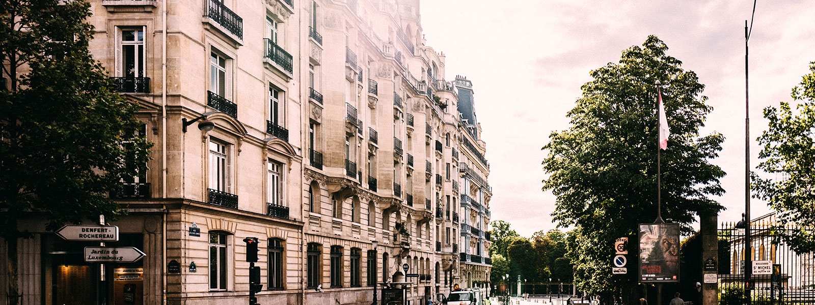 Buildings lining a street in France