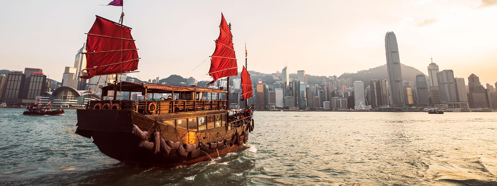 Boat sailing over river in Hong Kong